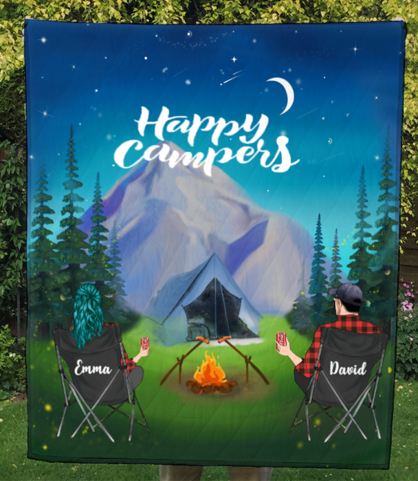Couple At Night Camp In Mountains -Personalized Camping Quilt Blanket