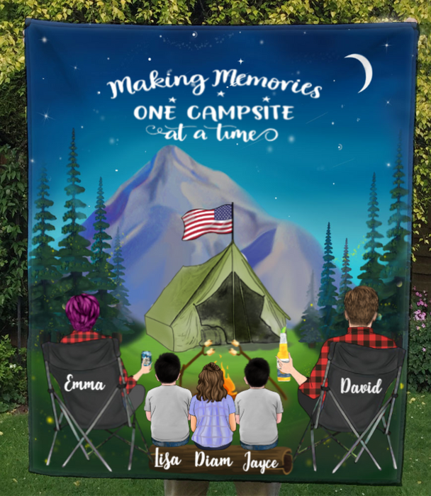 Family With 3 Kids - Camping In The Mountain Quilt Blanket - Making Memoties One Campsite At A Time