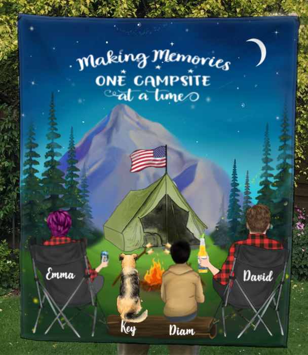 Personalized Camping Blanket Gift Idea For The Whole Family, Cat Dog Lovers - Father's day Gift - Mother's day gift from husband to wife - 1 Teen & 1 Pet Night Mountain Quilt