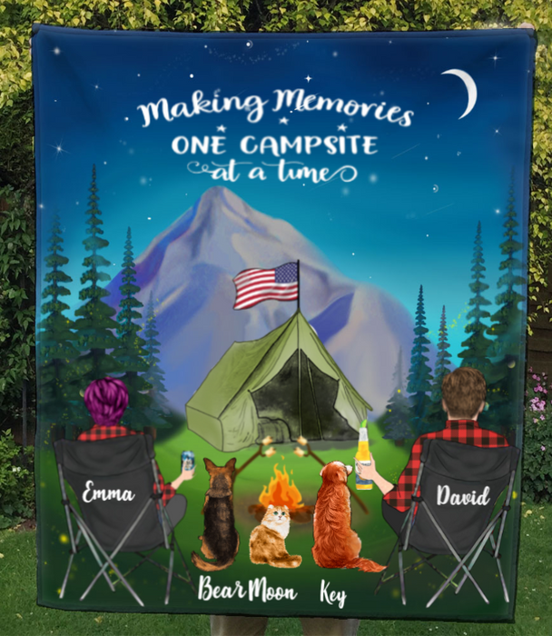 Couple With 3 Pets - Personalized Camping In The Mountain Quilt Blanket - Making Memories One Campsite At A Time