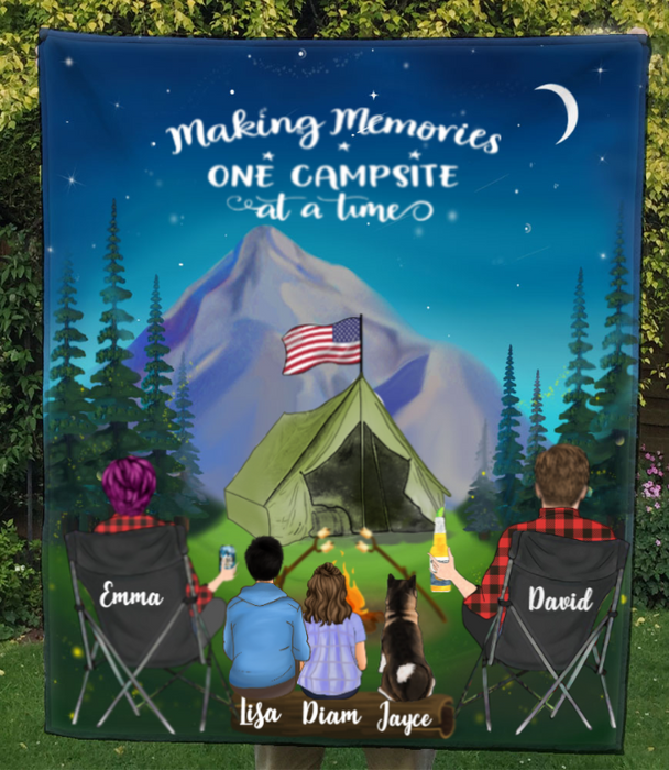 Family With 1 Teen, 1 Kid And 1 Pet - Camping In The Mountain Quilt Blanket - Making Memoties One Campsite At A Time