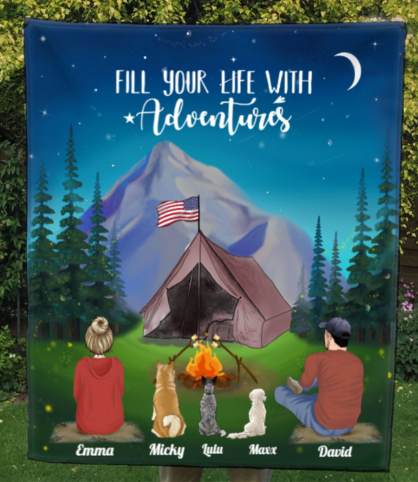 Couple And 3 Pets, At Night Camp In Mountains - Personalised Camping Quilt Blanket