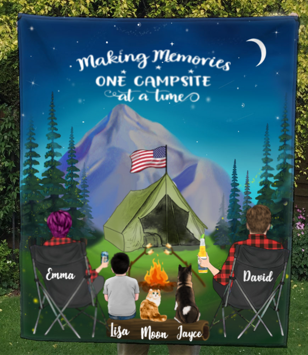 Family With 1 Kid 2 Pets -Personalized Camping In The Mountain Quilt Blanket - Making Memories One Campsite At A Time