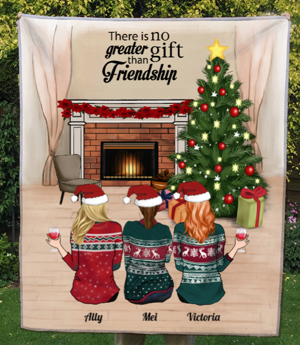 Personalized Best Friend Christmas Gift Ideas Blanket - 3 Besties With Drinks