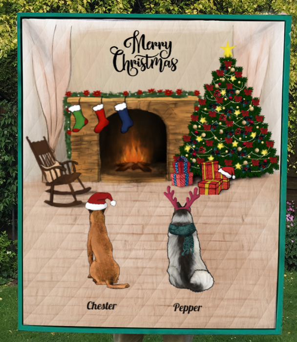 2 Pets - Personalized Christmas Quilt Blanket
