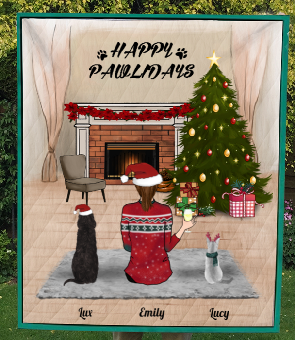 Custom Pet Blanket - Personalized Pet Blanket Christmas Gifts For Dog and Cat Lovers - Pet Mom & 2 Pets Happy Pawlidays