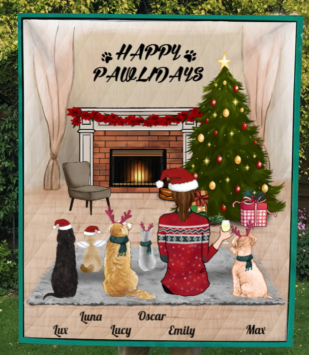 Custom Pet Blanket - Personalized Pet Blanket Christmas Gifts For Dog and Cat Lovers - Pet Mom & 5 Pets Happy Pawlidays