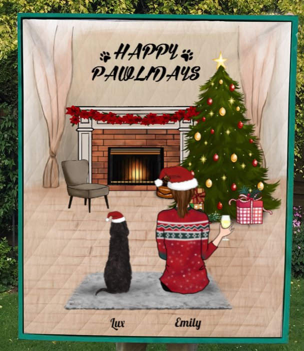 Pet Mom With Pets, Personalized Christmas Quilt Blanket
