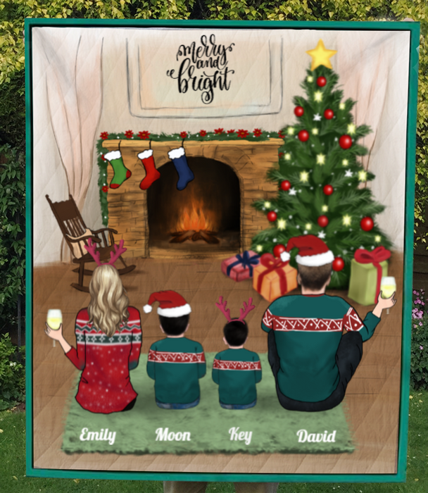 Family With 2 Kids, Couple And 2 Kids, Personalized Christmas Blanket