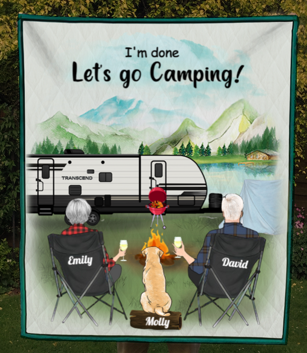 Personalized camping blanket gift idea for couple, family, camping lovers - Couple with 1 dog/cat - I'm done Let's go camping