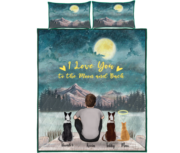 Pet Dad With 3 Pets -  Personalized Mountain Quilt Bed Set
