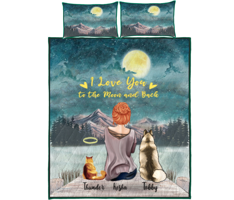 Pet Mom With 2 Pets - Personalised Mountain Quilt Bed Set