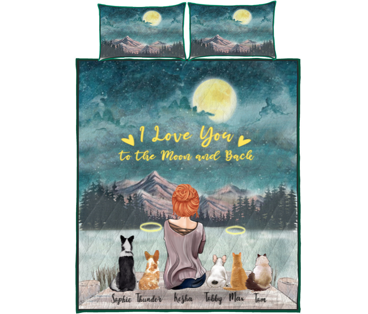 Pet Mom With 5 Pets - Personalised Mountain Quilt Bed Set