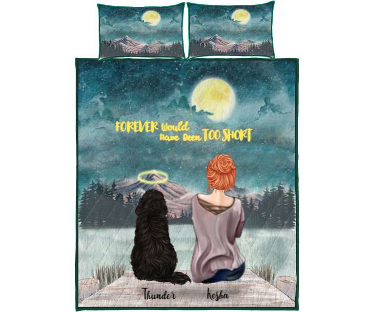 Pet Mom With 1 Pet - Personalised Mountain Quilt Bed Set