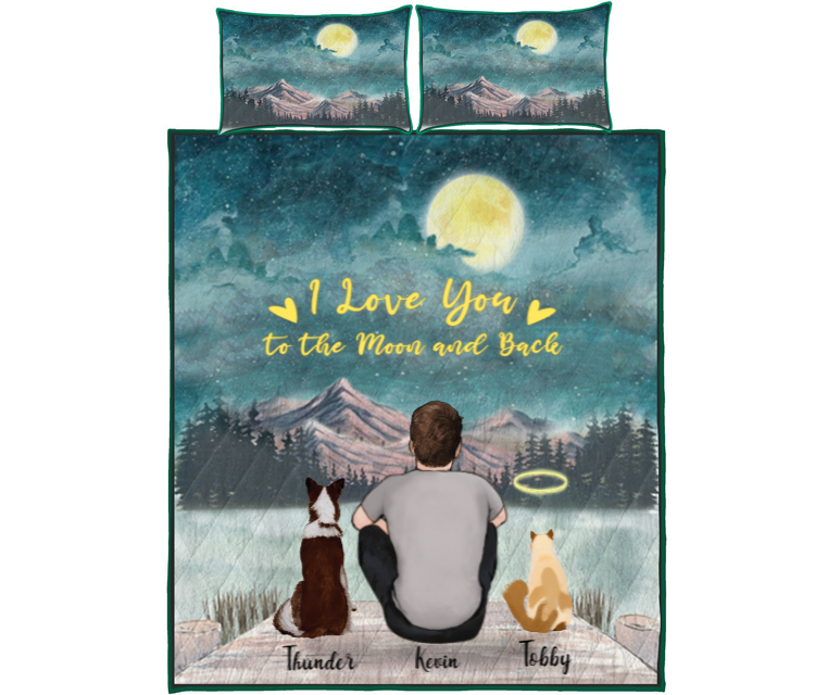 Pet Dad With 2 Pets -  Personalized Mountain Quilt Bed Set