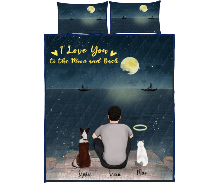 Pet Dad With 2 Pets - Personalized Sea Quilt Bed Set