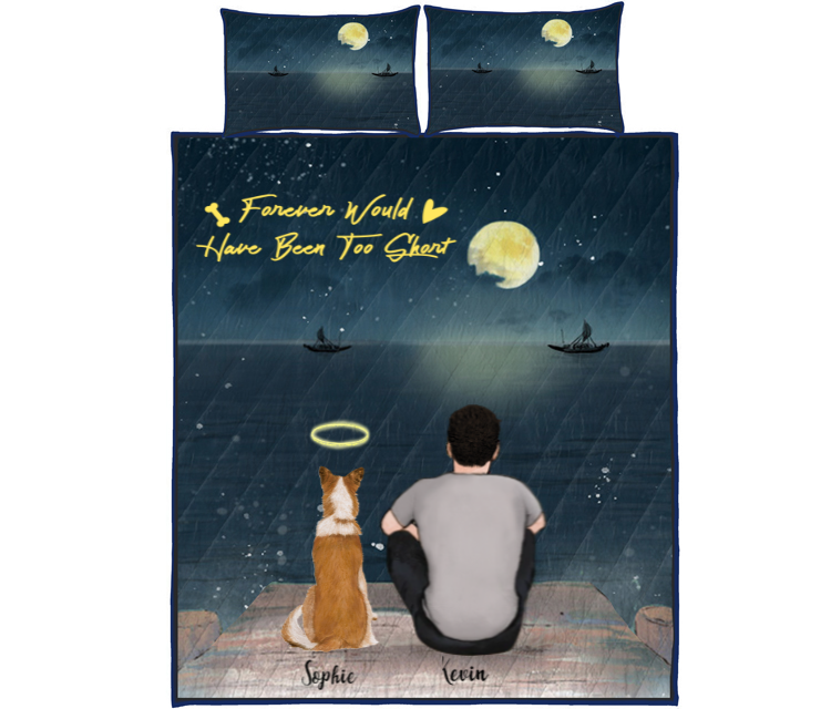 Pet Dad With 1 Pet - Personalized Sea Quilt Bed Set