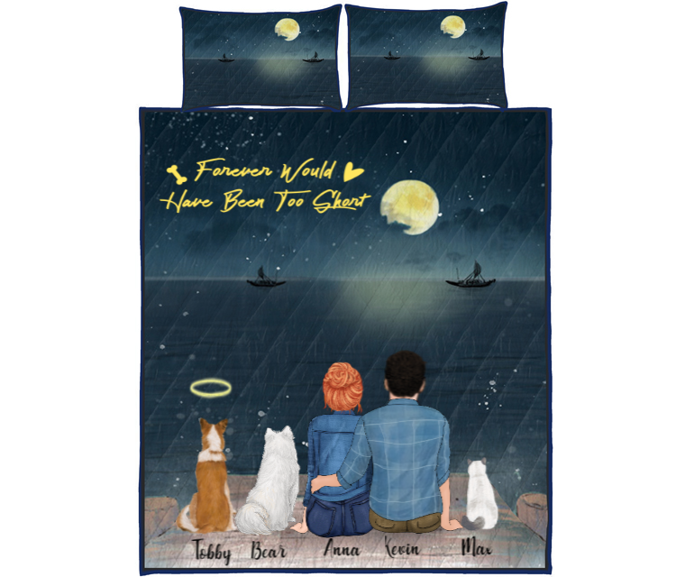 Couple With 3 Pets - Personalized Sea Quilt Bed Set