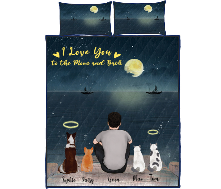 Pet Dad With 4 Pets - Personalized Sea Quilt Bed Set