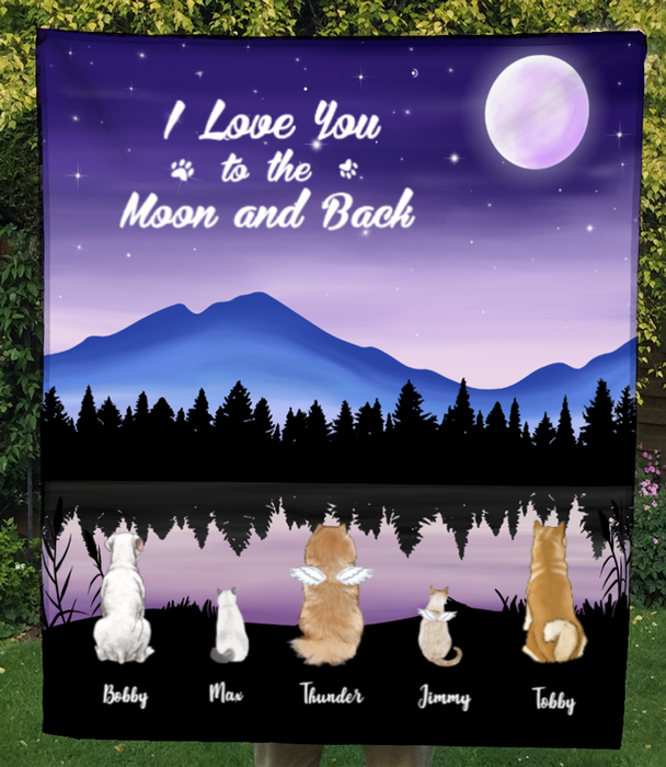 Custom Pet Blanket - Personalized Pet Fleece Blanket Gifts For Dog and Cat Lovers - 5 Pets, I love you to the moon and back Fleece Blanket