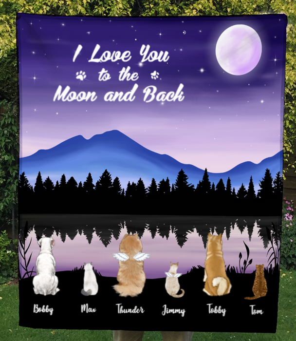 Custom Pet Blanket - Personalized Pet Fleece Blanket Gifts For Dog and Cat Lovers - 6 Pets, I love you to the moon and back