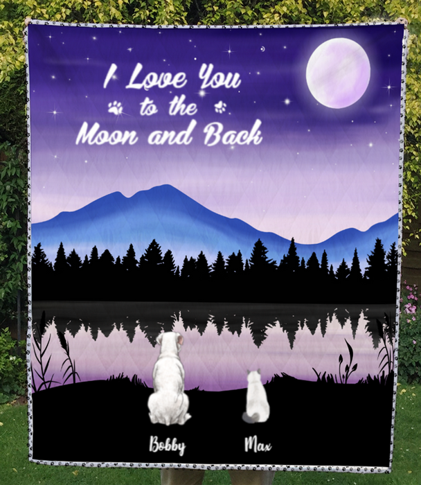 Custom Pet Blanket - Personalized Gifts For Dog And Cat Lovers - 2 PETS -  Moonlight Quilt  Blanket