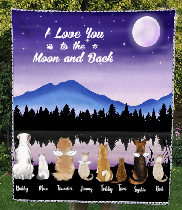 Custom Pet Blanket - Personalized Pet Quilt Blanket Gift For Dog Lovers, Cat Lovers - 8 Pets, I love you to the moon and back