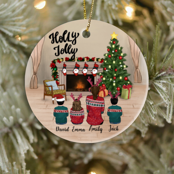 Single Mom and 3 Kids, Personalized Christmas Ornament