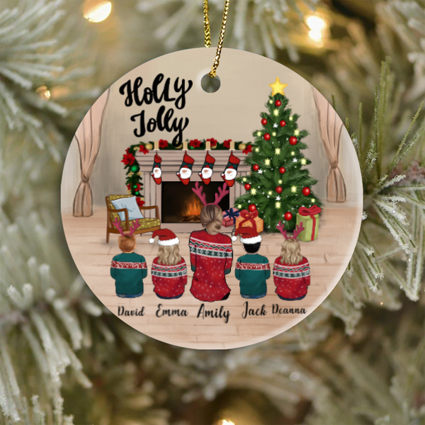 Single Mom and 4 Kids, Personalized Christmas Ornament