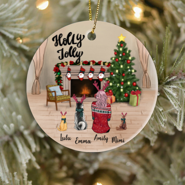 Personalized Christmas Ornament Gifts For Single Mom, Dog Cat Lovers - Single Mom & 3 Dogs Or Cats Ornament - Merry Christmas