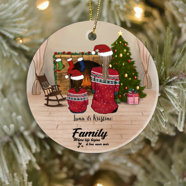 Mom and 1 Kid, Personalized Christmas Ornament