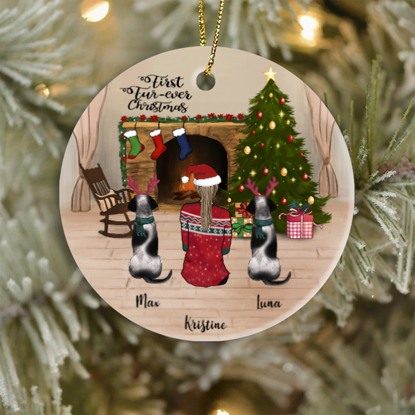 Pet Mom and 2 Pets, Personalized Christmas Ornament