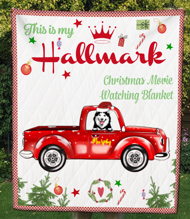 1 Dog In The Car, Personalized Christmas Quilt Blanket