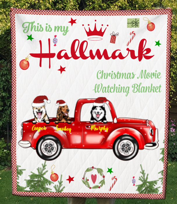 Custom Dog Blanket - 3 Dogs In The Car - Personalized Dog Quilt Blanket Christmas Gifts For Dog Lovers