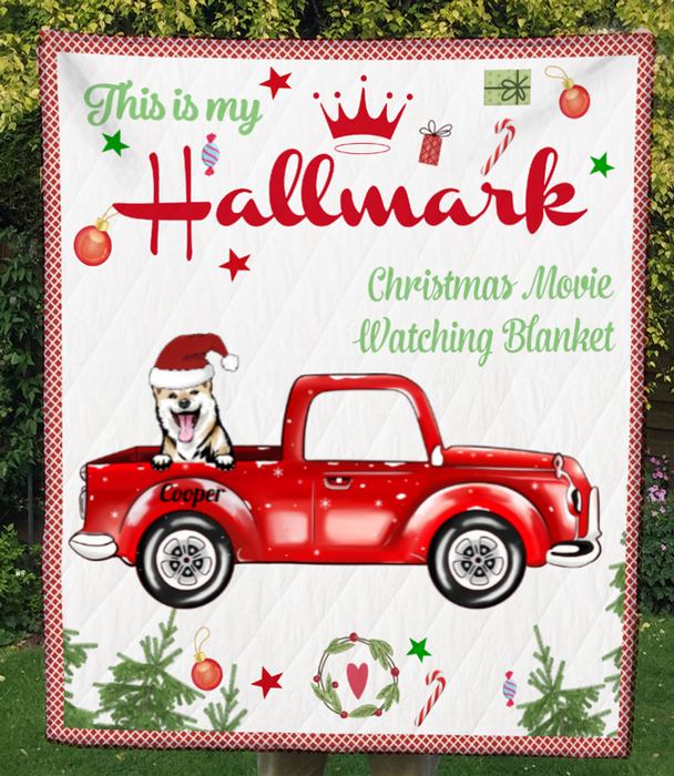 One Dog In The Car, Personalized Christmas Quilt Blanket