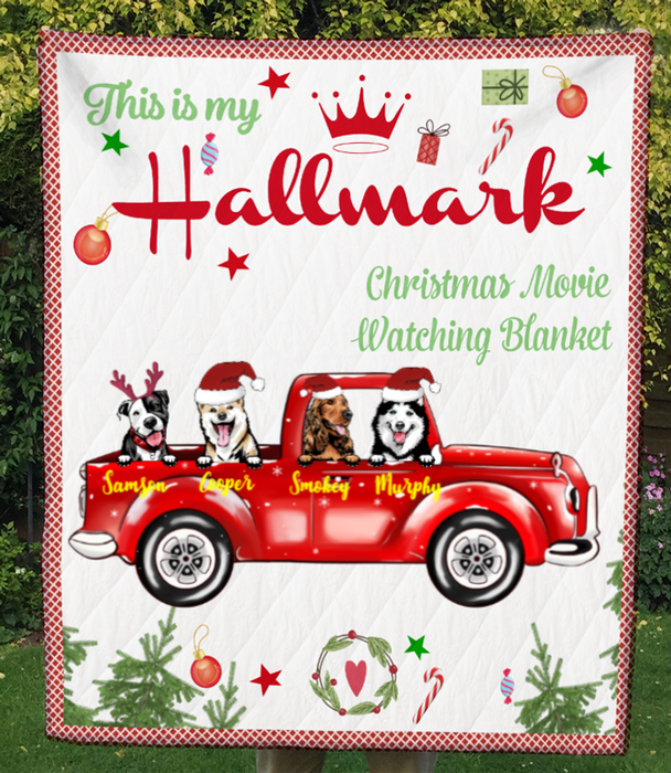 Custom Dog Blanket - 4 Dogs In The Car - Personalized Dog Quilt Blanket Christmas Gifts For Dog Lovers