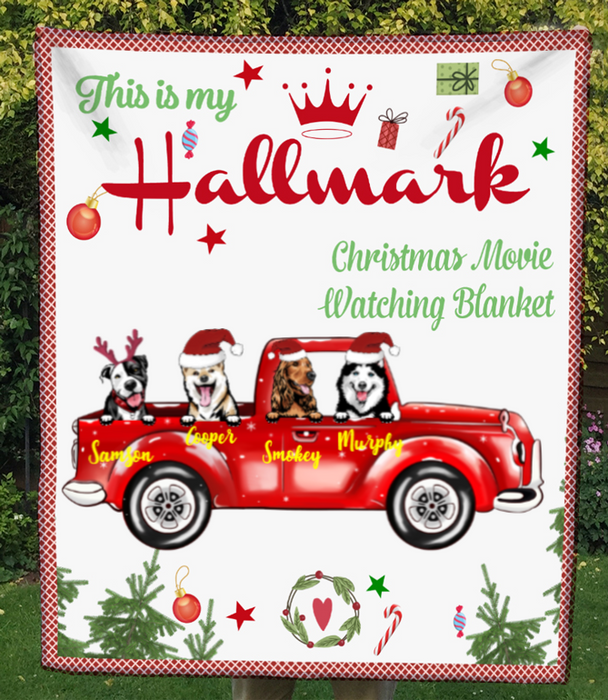 4 Dogs In The Car, Personalized Christmas Fleece Blanket