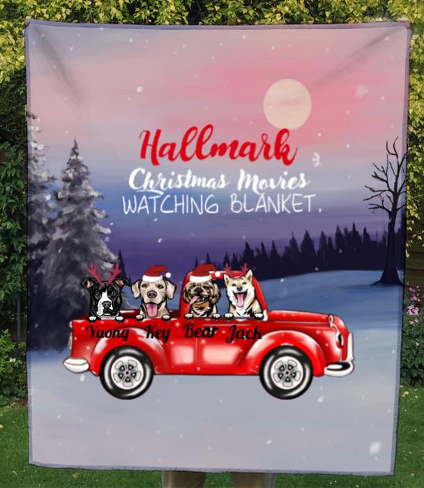 4 Dogs In The Car, Personalized Christmas Quilt Blanket v3