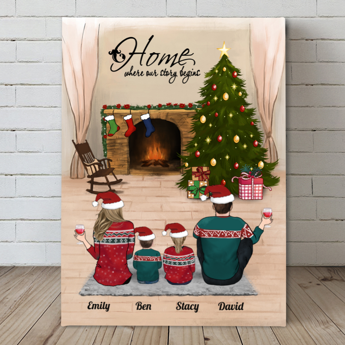 Parents With 2 Kids, Personalized Christmas Canvas