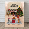 Personalized Pet Canvas Gifts For Cat Dog Lovers, Cat Dog Mom - Mom & 2 Pets Christmas Canvas Wall Art  - Happy Howlidays