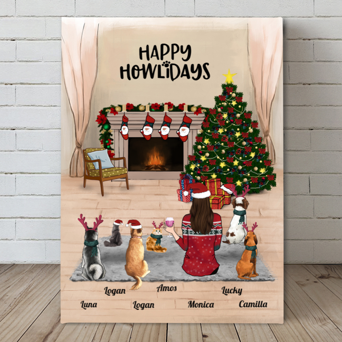 Pet Mom With 6 Pets, Personalized Christmas Canvas