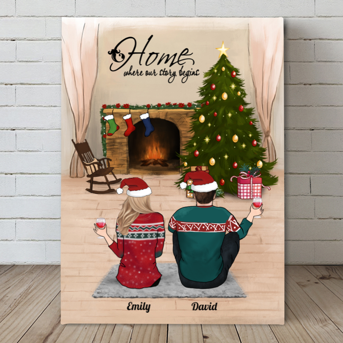 Couple, Family With Kids, Personalized Christmas Canvas