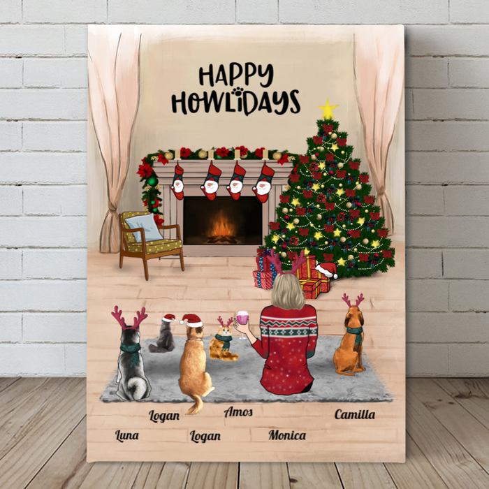Personalized Pet Canvas Gifts For Cat Dog Lovers, Cat Dog Mom - Mom & 5 Pets Christmas Canvas Wall Art  - Happy Howlidays