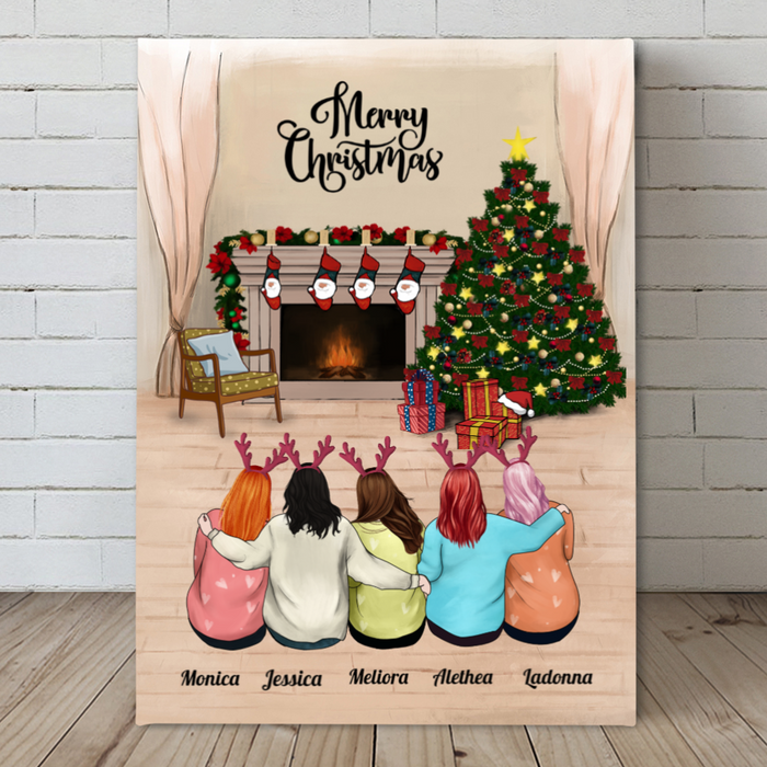Personalized Christmas Canvas Gift for Mom and Daughter - Mom Hug - Mother and 4 Daughters Christmas Canvas Wall Art - Merry Christmas
