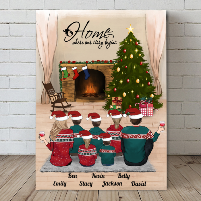 Parents With 5 Kids on Xmas Day, Personalized Christmas Canvas