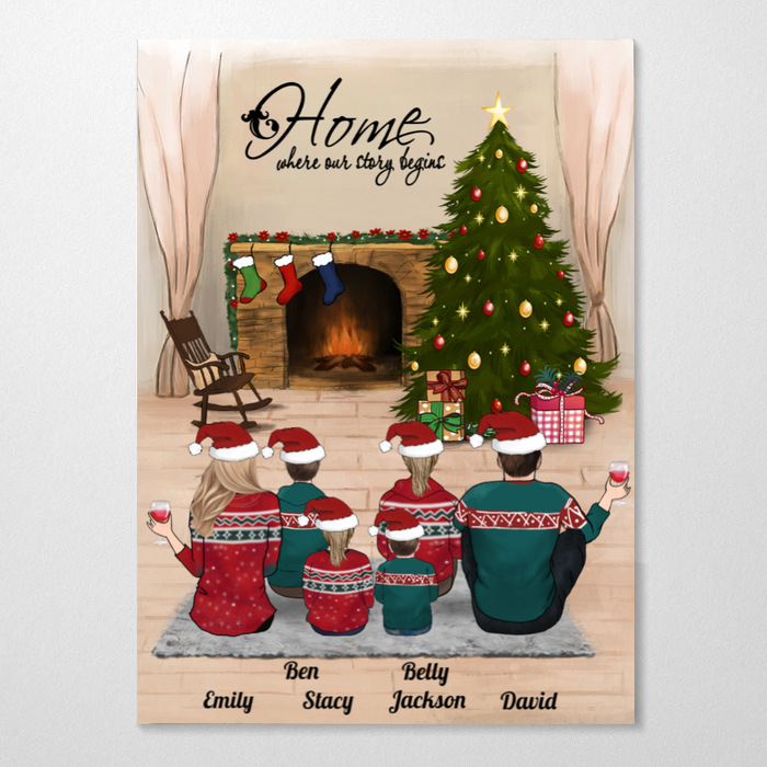 Personalized Christmas Poster - Best Christmas Gift for the whole family - Parents & 4 Kids - Merry Christmas