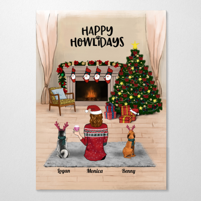 Custom cat dog & mom poster - Personalized Christmas gift for Cat Dog Mom, Pet Mom - Mom & 2 Pets - Merry Christmas