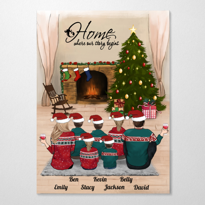 Couple With 5 Kids, Family With 5 Kids, Personalized Christmas Poster