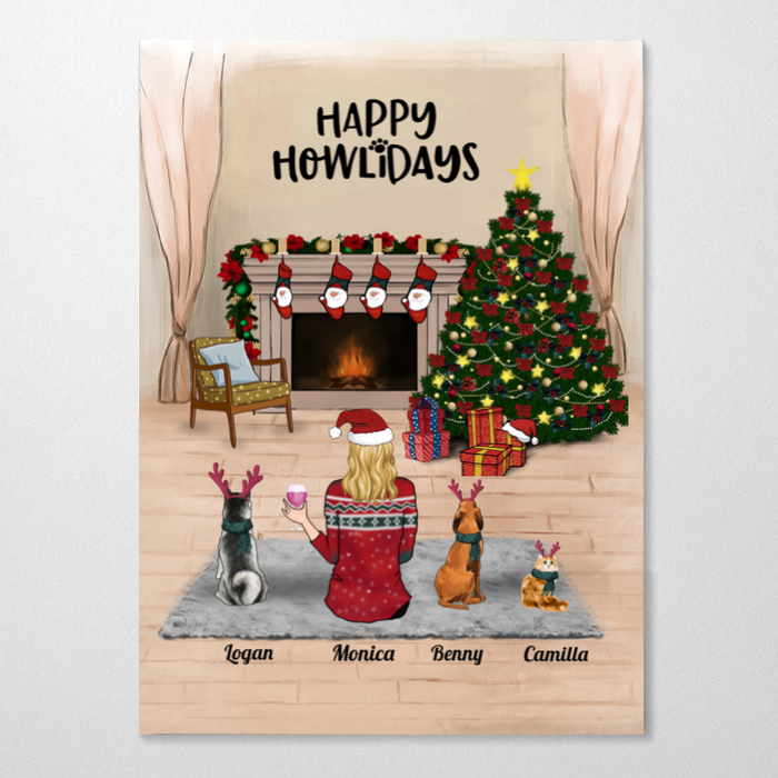 Custom cat dog & mom poster - Personalized Christmas gift for Cat Dog Mom, Pet Mom - Mom & 3 Pets - Merry Christmas