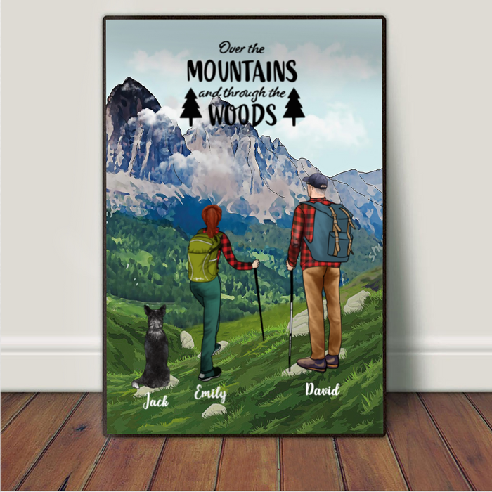 Personalized Dog & Owners Poster, Gift idea for Dog Lovers, Hiking Couple - Dog & Couple Hiking Poster - Over the mountains and through the woods